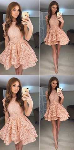 Lace Homecoming Dresses, Short Homecoming Dresses, Homecoming Dresses Short, Short Lace dresses, Lace Short dresses, Princess A-Line Round Neck Lace Short Homecoming Dress,Prom Dresses