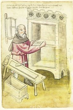 Medieval woodworker depicted with his plane, bowsaw, chisel, mallet, and workpiece held by stops on a workbench. Also note the dovetails suggested on the box corner. Woodworking Images, Popular Woodworking, Woodworking Furniture, Woodworking Projects, Medieval Life, Medieval Art, Medieval Furniture, Antique Furniture, Medieval Crafts
