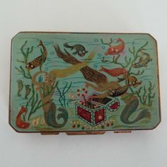 Rare 1940's Stratton 'Slab' Powder Compact Underwater Scene Mermaid Seahorse Fish Powder Compact Glamour War Time WWII by VintageBlackCatz on Etsy