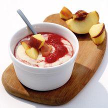 Himbeergrieß mit Pfirsich