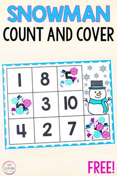 This free printable snowman count and cover math activity would be perfect for your preschool or kindergarten math centers. It's a fun counting activity for your winter theme. Winter Activities For Kids, Printable Activities For Kids, Preschool Printables, Preschool Activities, Winter Thema, Free Preschool, Preschool Winter, Math Concepts, Winter Fun