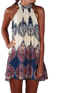 #Summer Sleeveless Halterneck Keyhole Back Swing Beach Wear Mini Sundress XL