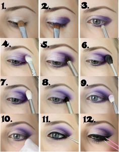 Make up for beginners. - Schminken - Make up augen Purple Eye Makeup, Smokey Eye Makeup, Eyeshadow Makeup, Hair Makeup, Beauty Makeup, Purple Smokey Eye, Drugstore Makeup, Makeup Inspo, Purple Eyeshadow Looks
