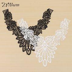 1Pcs Black White Fine Venise Lace Fabric Dress Applique Blouse Sewing Trims DIY  Neckline Collar Costume e30f5b6eb405