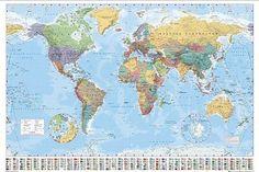 Weltkarte XXL Poster Flaggen Version 2008 - Poster Riesenformat (140cm x 100cm)