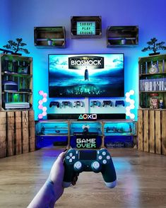 Computer Gaming Room, Gaming Room Setup, Gaming Rooms, Video Game Party, Video Game Rooms, Video Games, Nerd Room, Gamer Room, Bioshock