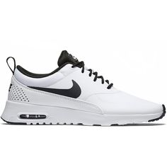 Nike Air Max Thea Womens ($90) ❤ liked on Polyvore featuring shoes, athletic shoes, accessories, women, leather shoes, nike athletic shoes, leather running shoes, black white shoes and synthetic shoes