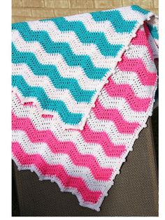 Pink Chevron Baby Blanket Chevron Crochet Baby Blanket by CCBR2014