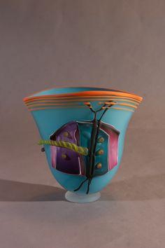 Flat Vessel Water Blue with Orange Lip Wrap | James Wilbat Glass Studio