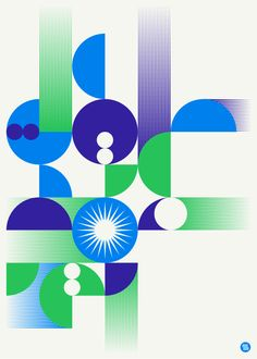 Brent Couchman - Untitled geometric blue green