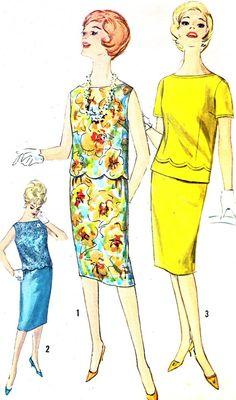 1960s Dress Pattern Simplicity 3867 Two Piece Dress by paneenjerez
