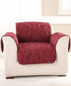 Sure Fit Matelasse Damask Pet Chair Slipcover - Red