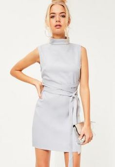 High Neck Tie Waist Shift Dress Grey