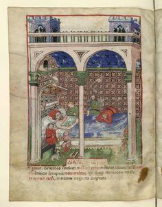 Nouvelle acquisition latine 1673, fol. 90v, Pathologie: troubles du sommeil. Tacuinum sanitatis, Milano or Pavie (Italy), 1390-1400.