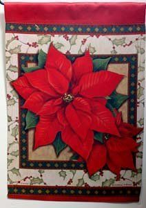 "Classic Poinsettia Christmas Garden Flag by Carson. $5.99. double sided. made of DuraSoft, soft yet durable. 3-ply construction. weather and fade resistant. Subtle shades of red and green and classic poinsettias highlight the holidays on this decorative garden flag.  This subliminated and generously sized mini yard flag (12.5""x18"") welcomes everyone to your home for all the important holiday celebrations.  This decorative garden flag is the perfect accent to y..."