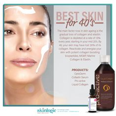 Best SKIN for 40's The main factor now in skin ageing is the gradual loss of collagen and elastin. Collagen is depleted at a rate of 1.5% every year, starting in your mid 20's. By 40, your skin may have lost 30% of its collagen. Reactivate and energise your skin with potent collagen-boosting biopeptides, MG6P, Marine Collagen and Elastin. PRODUCT: #OptoDerm Collastin Serum Pro-active Liquid Collagen For more information or booking please contact us on +27 44 873 6558 or info@skinlogic.biz