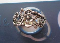 FREE~ Lovely Stamped .925 Silver Flower Design Ring Size 5- 5.5