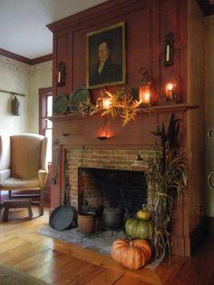 Home Decoration With Wood .Home Decoration With Wood Rustic Fireplace Decor, Primitive Fireplace, Primitive Living Room, Rustic Fireplaces, Fireplace Mantel, Primitive Mantels, Halloween Fireplace, Fireplace Ideas, Primitive Homes