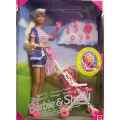 Barbie and baby Shelly stroller set! Loved this as a little girl! I had this as a kid and I loved it!!