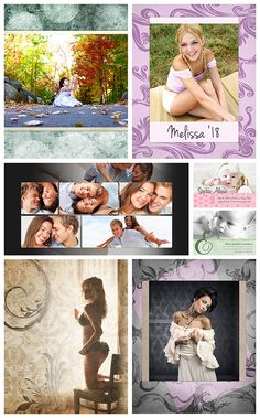 Easily enhance your images with Photoshop templates from Photobacks, at: www.photobacks.com/packages Top row: Ashbury Court Portrait / Signature Senior Portrait. Middle row: Modern Classic Photo Book Spread / Signature Baby Announcements. Bottom row: Madison Avenue Portrait / Signature Portrait.