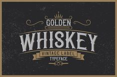 """Introducing a vintage look label typeface named """"Golden Whiskey"""". It's made in strong and vintage label style. Typeface is good viewed on any labels design. Features: - EPS10 files with all"""