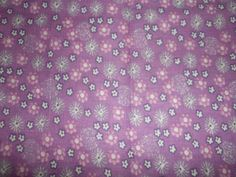 Purple With White Flowers Fabric  42  By The Yard