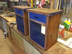 Rustic bedside table, with accents of Ink Blue