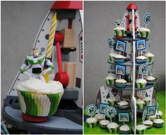 buzz lightyear cupcakes isaac wanted.  will need to do something similar for ryder's alien party.
