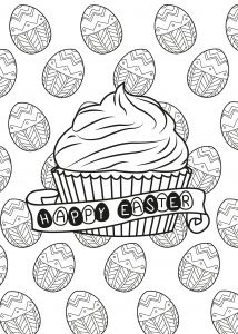 Coloring Page Of A Muffin In The Theme Easter With Traditionnal Chocolate Eggs