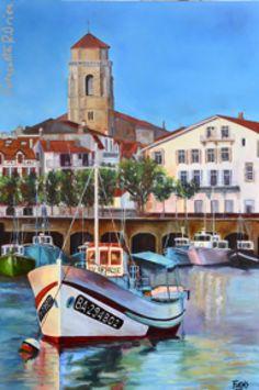 Oleo sobre lienzo de San Juan de Luz, villa marinera del sur oeste de Francia