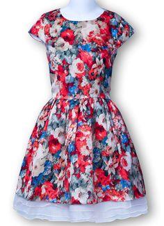 Multicolor Cap Sleeve Florals Contast Gauze Flare Dress