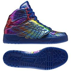 "I think these might have my name all over it!  Jeremy Scott for Adidas ""rainbow hologram"" wing shoes"