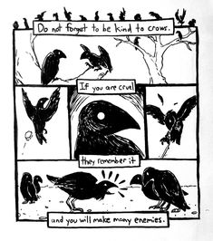"""literal-ghost: """" Today's sketch turned into a tiny comic about crows. I think I'm going to try making small comics every day just to get accustomed to the process of making them. I really enjoyed this entire drawing, and I want to do more comics. Memes Arte, Online Comics, Arte Obscura, Vegvisir, Crows Ravens, Pics Art, Illustrations, Dark Art, Art Inspo"""