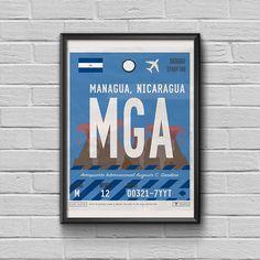 Managua Poster Luggage Tag Framed Print Nicaragua Vintage Art