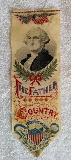 RARE 1876 GEORGE WASHINGTON PATRIOTIC WOVEN SILK RIBBON BOOKMARK-1776 CENTENNIAL