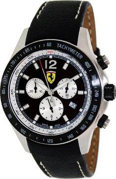 Ferrari Scuderia Chronograph Black Dial Black Leather Mens Watch  $276.96