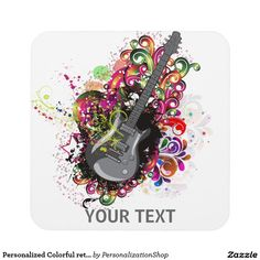 Personalized Colorful retro music guitar coaster