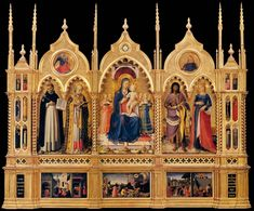 Perugia Altarpiece (in modern frame) - Fra Angelico. Tempera and gold on panel. The left and center predella panels are copies: the originals are in the Pinacoteca Vaticana, Vatican City. Fra Angelico, Renaissance Kunst, Renaissance Paintings, Religious Paintings, Religious Art, Saint Dominique, Madonna, Web Gallery Of Art, Christian Artwork