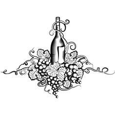 Vector illustration of grape wine with leaf and floral art line art sketch isolated on white