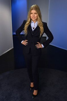 Fergie.. Dolce & Gabbana - Light Blue Shirt, Vest, Pinstripe Pants, and Pinstripe Blazer - with Fergie Podium Pumps, and Chrome Hearts ring..... - Celebrity Fashion Trends