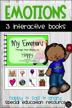 These 3 interactive books are designed to introduce the concept of the basic emotions (happy, sad and angry). They can be used as a whole class lesson, in small groups or during instruction. Suitable for special education or early childhood settings. Teaching Emotions, Autism Teaching, My Emotions, Teaching Reading, Teaching Resources, Interactive Books, Angry Child, Emotional Child, Education Information