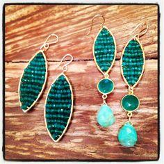 """Wire wrapped Green Topaz on Oblong Sphere Single Drop Earring, 1.5"""" Peruvian Opal Teardrop with Gold framed and Wire wrapped Green Topaz on Mini Oblong Sphere Earring, 2.5"""""""