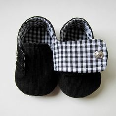 Baby Booties in Black Corduroy and Black and White Gingham - Sizes 1-4. $26,00, via Etsy.