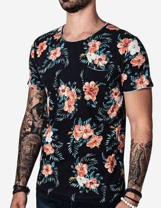 T-SHIRT FLORAL BOLSO VERDE 101434 - Hermoso Compadre