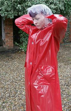 Plastic rainbonnet & red pvc