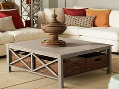 saltire large square coffee table with storage | large square