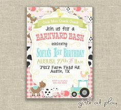 Barnyard Bash Birthday  First 1st Birthday Girl Invitation Barnyard Farm by girlsatplay tractor Cow horse Digital Invite $15.00
