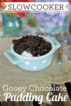 Gooey Chocolate Pudding Cake in a Slow Cooker!  So great for those hot summer days when you don't want to turn on the oven.
