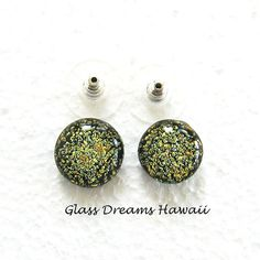 Dazzling Gold Stud Earrings  Fused Dichroic by GlassDreamsHawaii