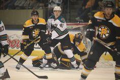 Worcester Sharks forward Petter Emanuelsson attempts to screen Providence Bruins goaltender Malcolm Subban (Oct. 18, 2014).